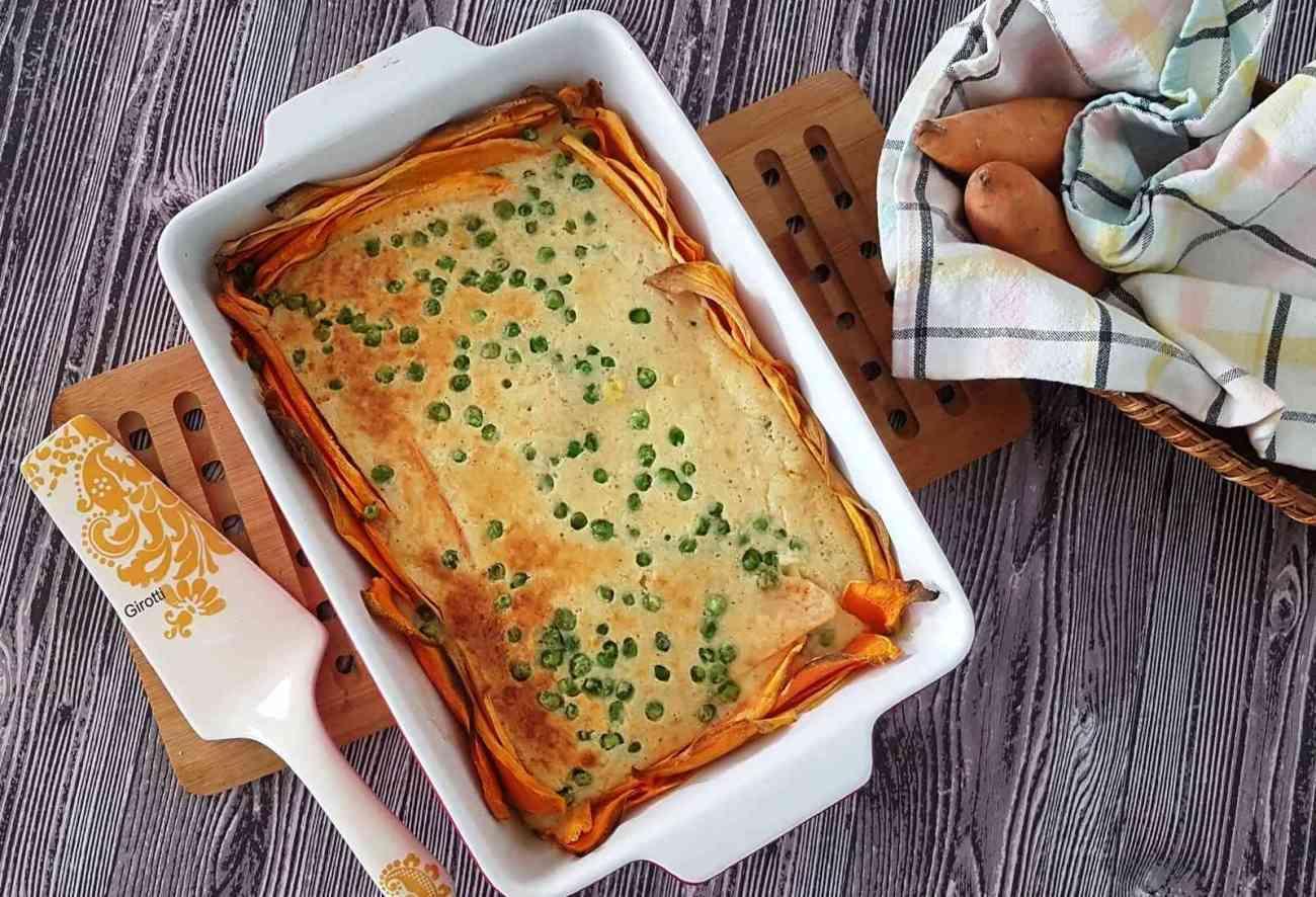 פשטידת בטטה ואפונה עם גבינות